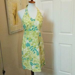 Real comfort, 10, grn/blu, halter style dress.